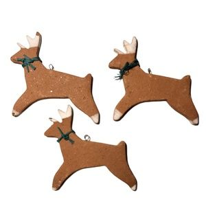 Handmade Clay Pottery Reindeer Ornaments Set of 3